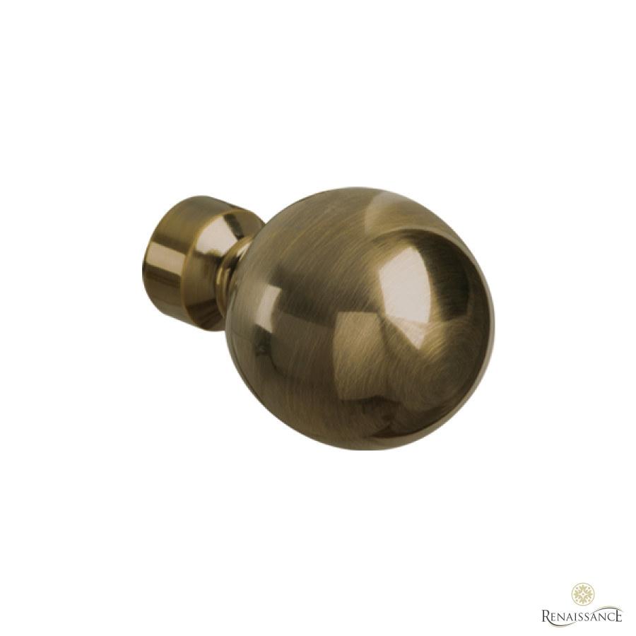 Antique Brass 35mm Spectrum Plain Ball Finial