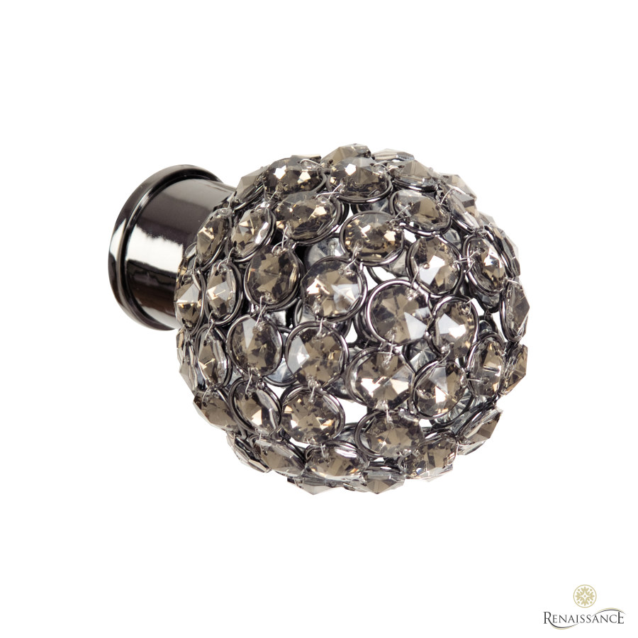 Black Nickel 35mm Spectrum Smoked Crystal Beads Finial