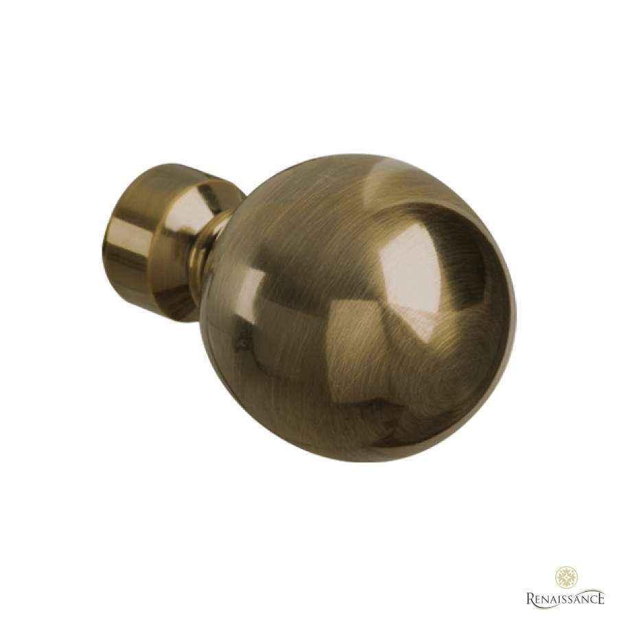 Antique Brass 50mm Spectrum Plain Ball Finial
