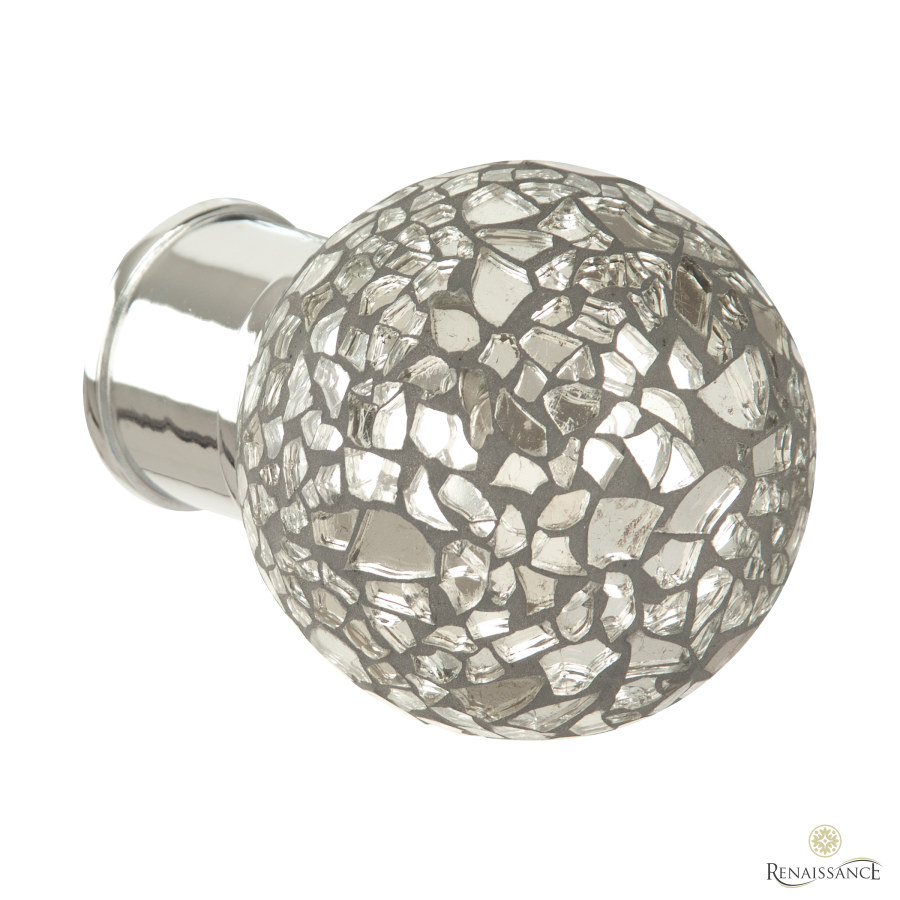 Polished Silver 50mm Spectrum Mirror Mosaic Finial