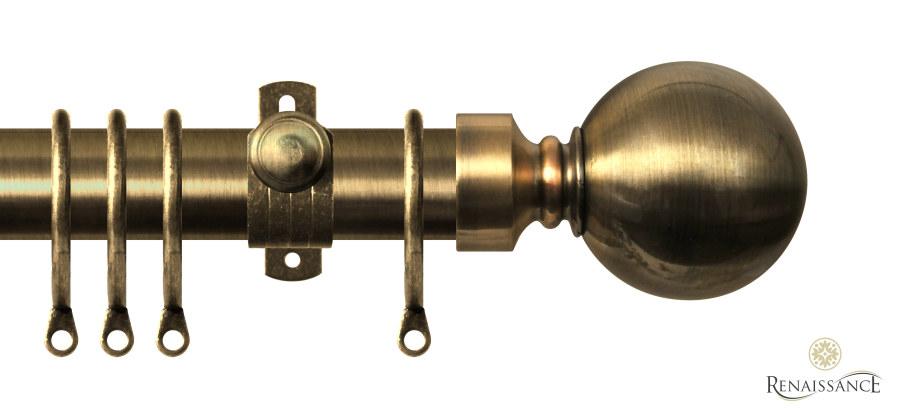 Orbit 28mm Pole Set Boxed 240cm Plain Ball Antique Brass